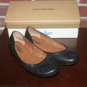 Lucky Brand Womens Emmie Black Leather Ballet Flat